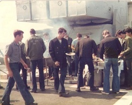 BBQ at sea, below the ASROC launcher on the Barry April 1979