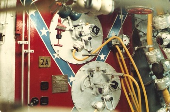 Front of 2A boiler in the aft boiler room. The USS Barry had steam turbines for propulsion. March 1981